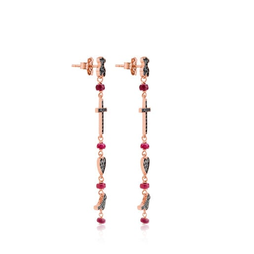 Rose Silver Motif Earrings with Spinel and Ruby