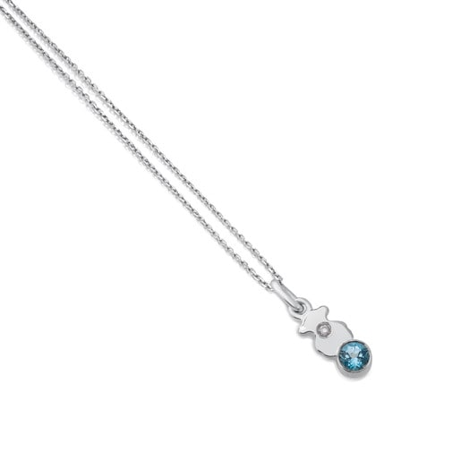 White Gold Somni Necklace with Topaz and Diamond