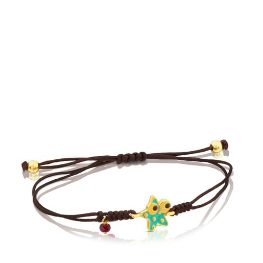 Vermeil Silver Face Bracelet with Ruby, Enamel and Spinel