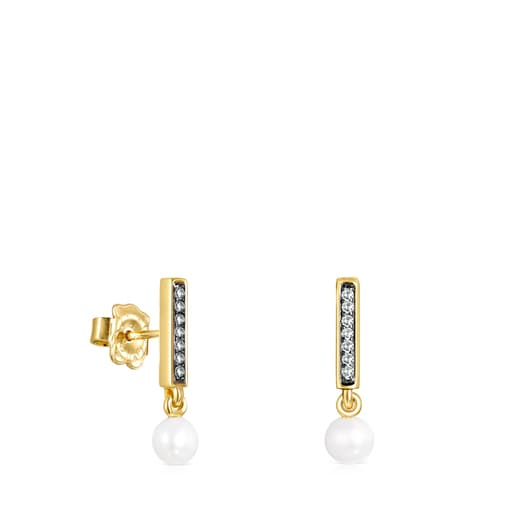 Nocturne bar Earrings in Silver Vermeil with Diamonds and Pearl