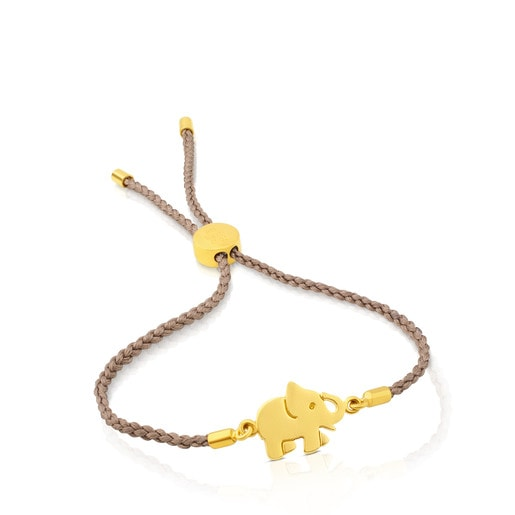 Vermeil Silver Idol Luck Bracelet with beige Cord