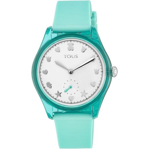 Steel and Poly-carbonate Free Fresh Watch with Mint Silicone Strap