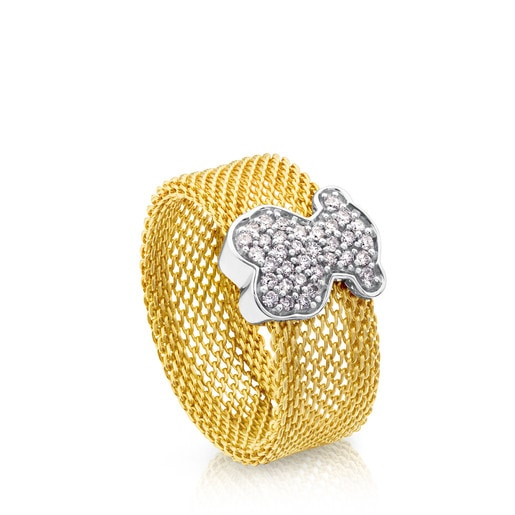 Gold Icon Mesh Ring with Diamonds