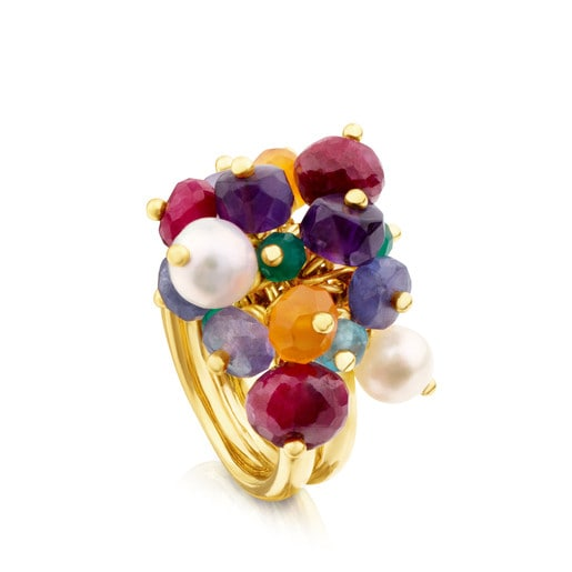 Vermeil Silver Elise Ring with Gemstones and Pearls