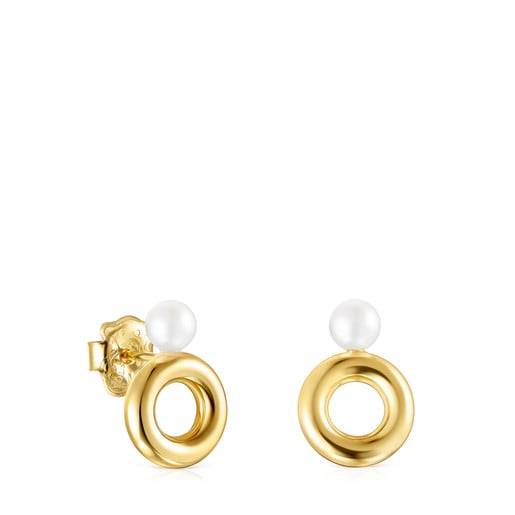 Avalon disc Earrings in Gold and Pearls