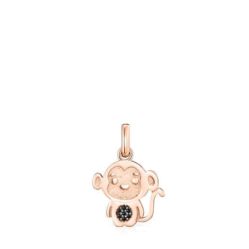Chinese Horoscope Monkey Pendant in Rose Silver Vermeil with Spinel