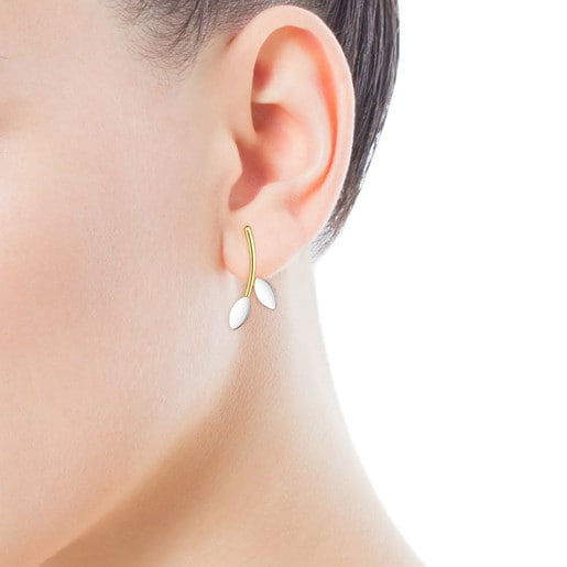 Silver Vermeil and Silver Real Mix Leaf Earrings