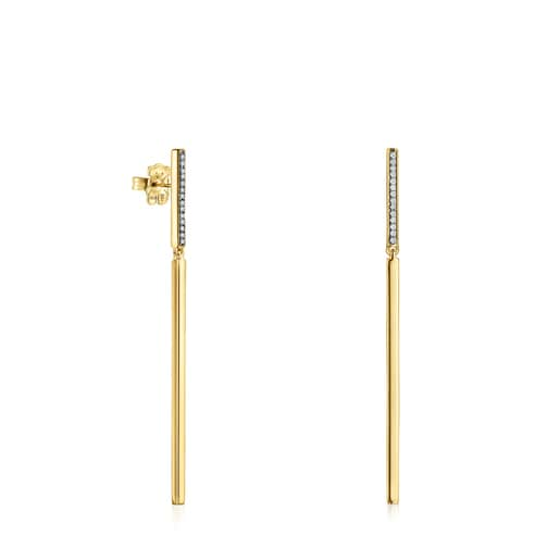 Long Nocturne bar Earrings in Silver Vermeil with Diamonds