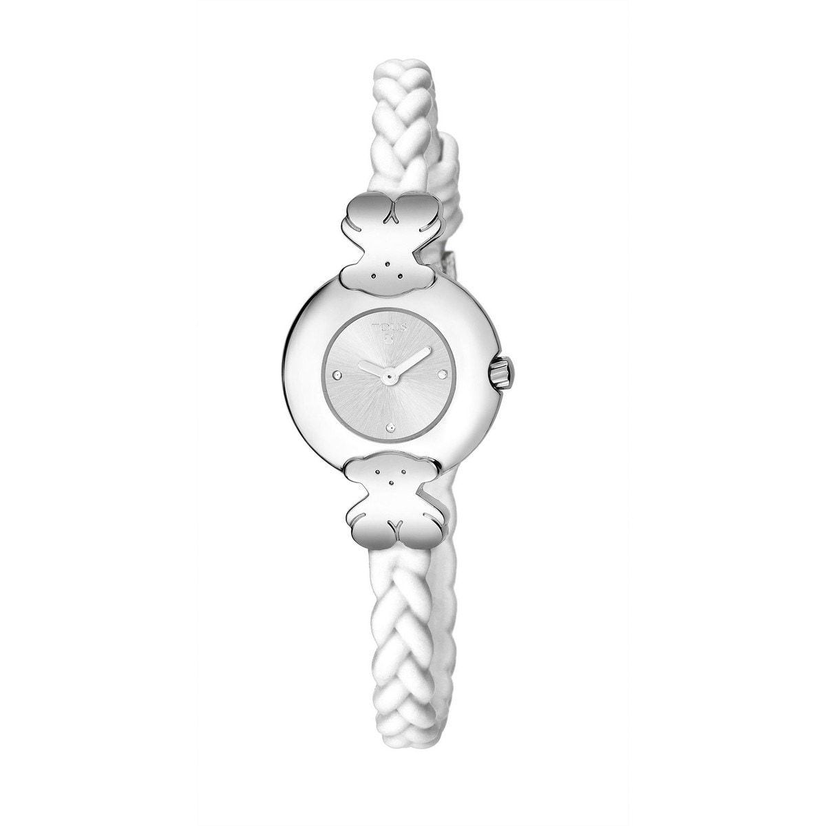 Steel Très Chic Watch with white Silicone strap