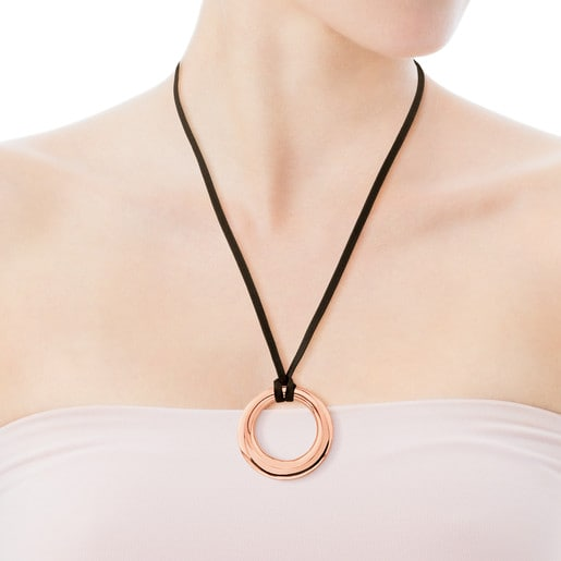 Rose Vermeil Silver with brown Silk Cord Warm Necklace