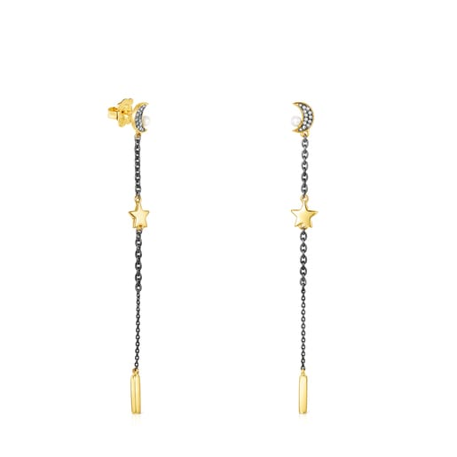 Long Nocturne Earrings in Silver Vermeil and Dark Silver with Diamonds and Pearl