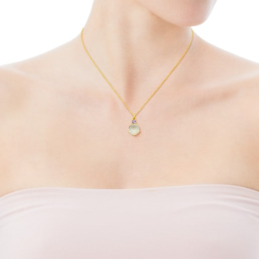 Gold Ivette Necklace with Praseolite and Amethyst