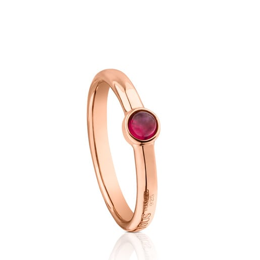 Rose Vermeil Silver Super Power Ring with Ruby