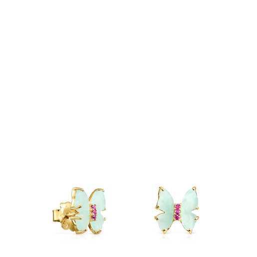 Gold with Amazonite and Ruby Vita butterfly Earrings
