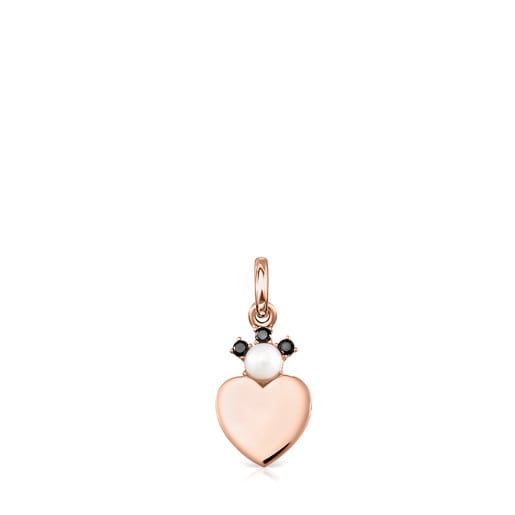 Rose Silver Vermeil Real Sisy Pendant with Spinels and Pearl