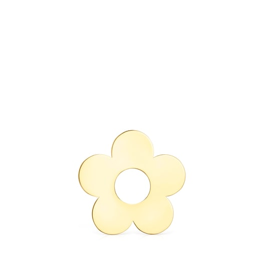 Small Hold Metal Gold Vermeil Flower Pendant