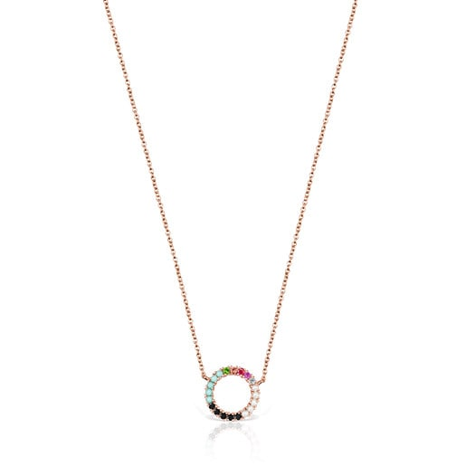 Straight disc Necklace in Rose Silver Vermeil with Gemstones