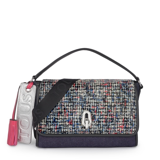 Small multicolored-jeans Bridgy Tweed crossbody bag