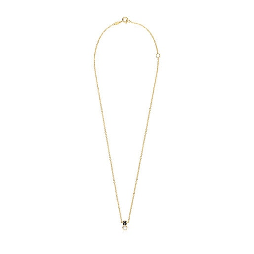 Glory Necklace in Silver Vermeil with Onyx and Pearl