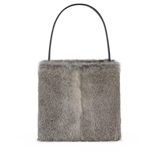 Small gray Leather Sibil Warm Shoulder bag