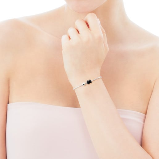 Silver Erma Bracelet with Onyx, Pearl ans Spinel