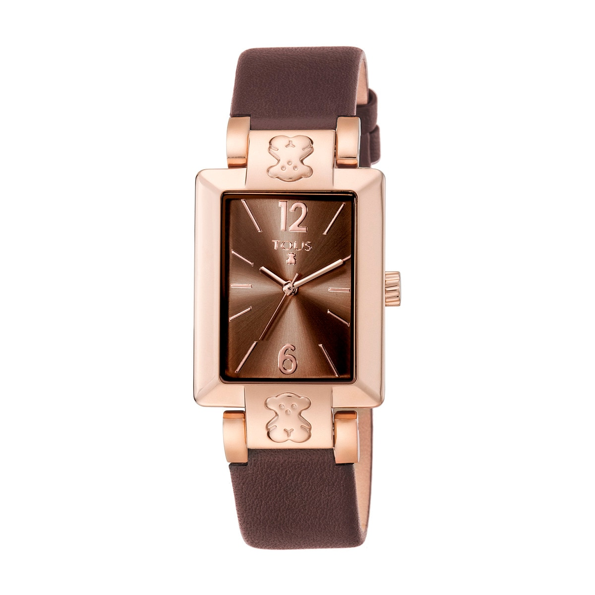 Pink IP Steel Plate SQ Watch with brown Leather strap