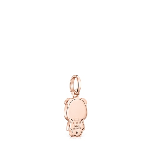 Chinese Horoscope Pig Pendant in Rose Silver Vermeil with Ruby