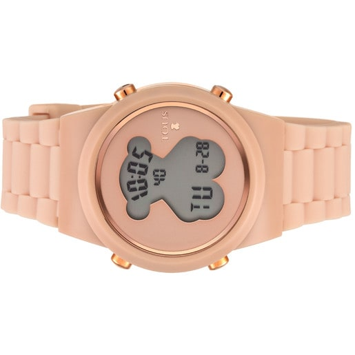Rose IP Steel D-Bear Digital watch with nude Silicone strap