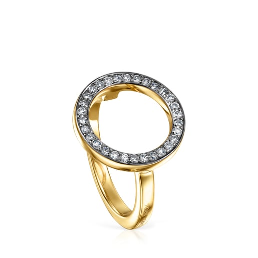 Nocturne disc Ring in Silver Vermeil with Diamonds