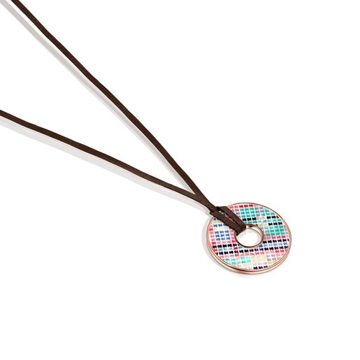 Tartan Disc Necklace in Rose Silver Vermeil with Mother-of-Pearl and brown Leather