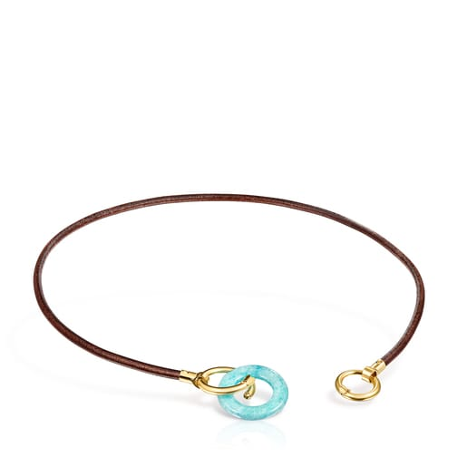 Hold Gems Silver Vermeil and Leather Necklace with Amazonite