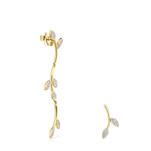 Pendientes Real Mix Leaf de Oro con Diamantes