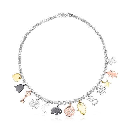 Silver, Silver Vermeil, Rose Silver Vermeil and Dark Silver Sweet Dolls Necklace