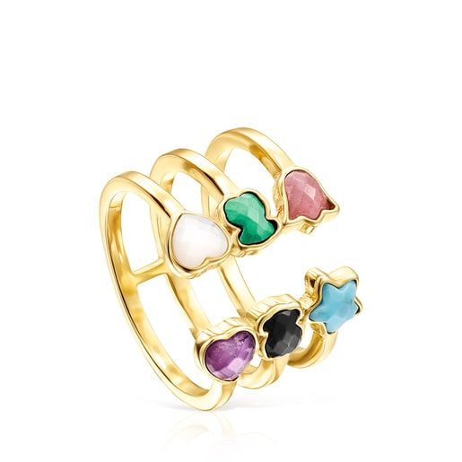 Glory Open Ring in Gold Vermeil with Gemstones
