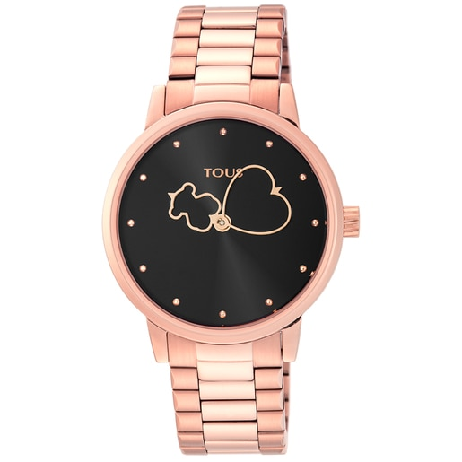 Rose IP Steel Bear Time Watch