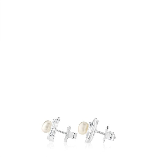 Silver Niu Earrings with Pearl