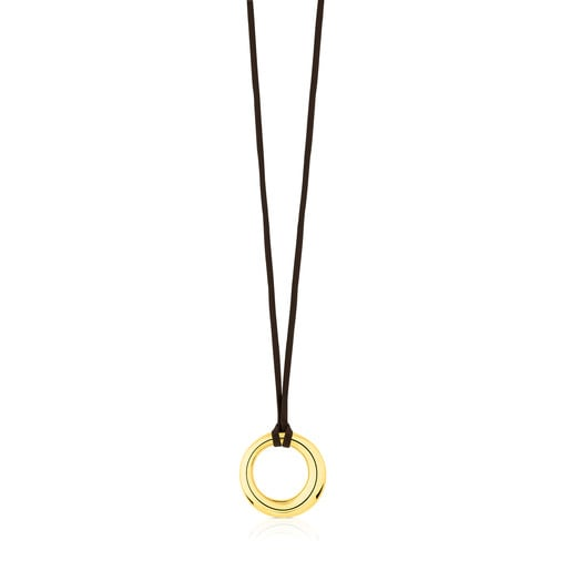 Vermeil Silver with brown Silk Cord Warm Necklace