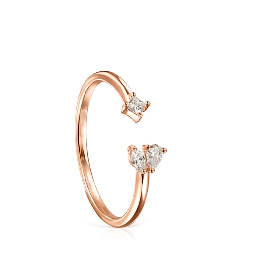 Light open Ring in Rose Gold with three Diamonds