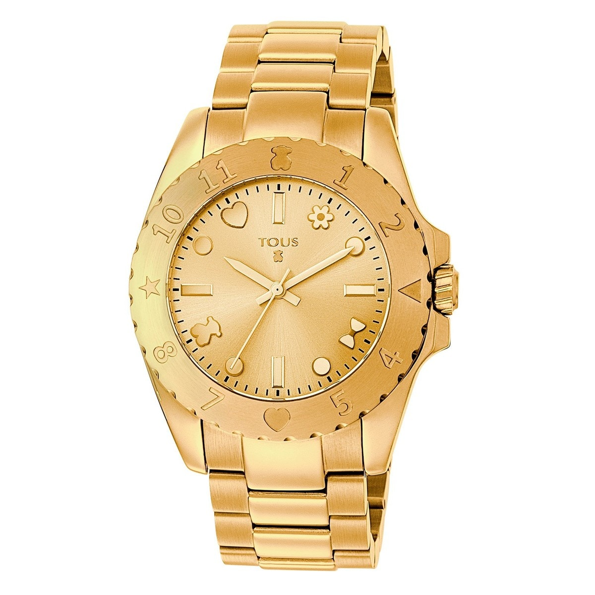 Gold IP Steel Motif Watch