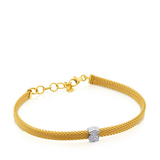 Gold Icon Mesh Bracelet with Diamonds