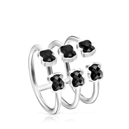 Mini Onix triple Ring in Silver with Onyx
