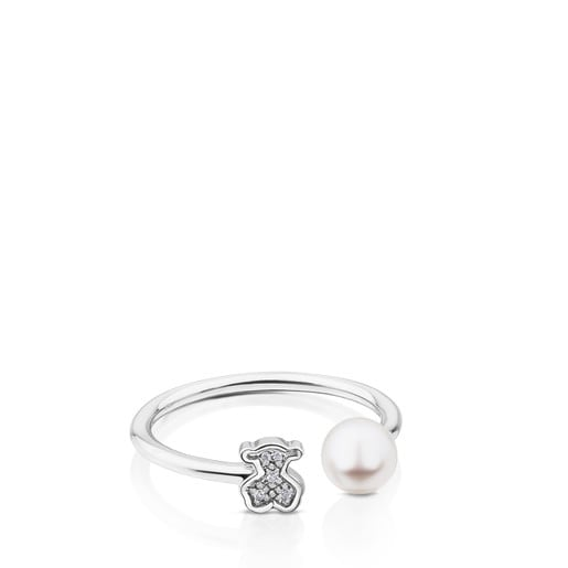 Anillo Puppies de Oro blanco con Diamantes y Perla