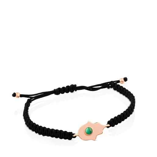 Rose Vermeil Silver Super Power Bracelet with Cord and Malachite