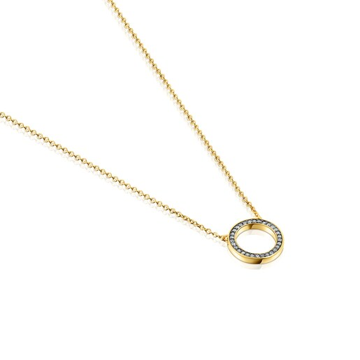 Nocturne disc Necklace in Silver Vermeil with Diamonds