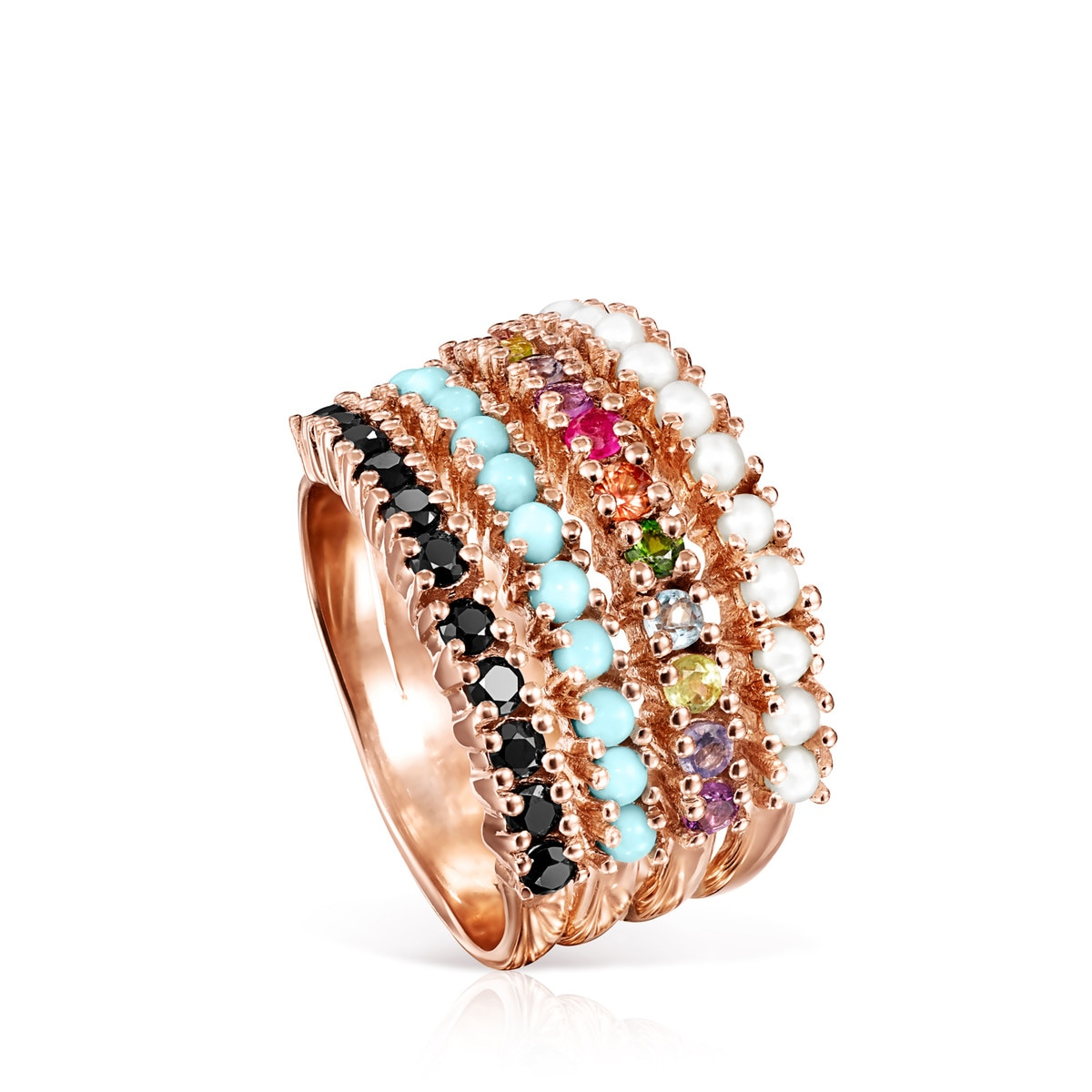 Straight Ring in Rose Silver Vermeil with Gemstones