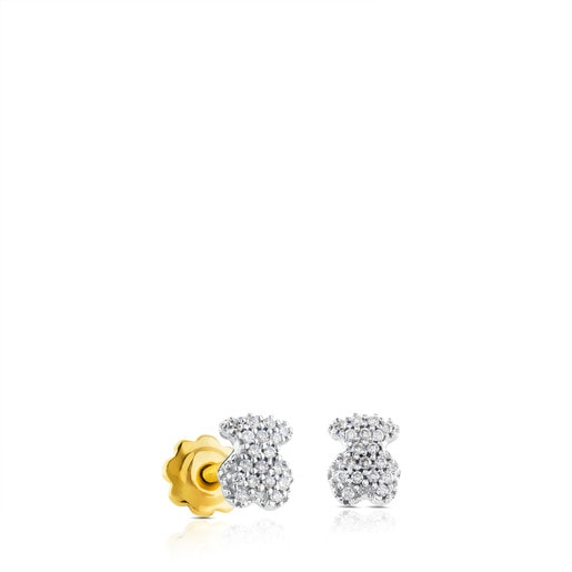 White Gold Puffy Earrings with Diamond