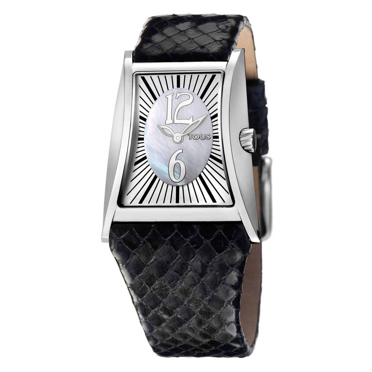 Steel Siena Watch with black Leather strap