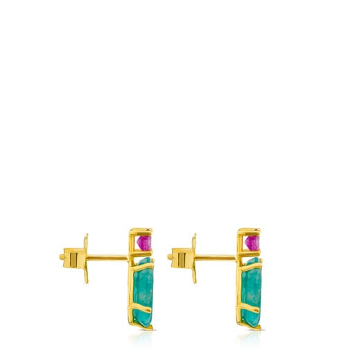 Ivette Earrings in Gold with Amazonite and Ruby