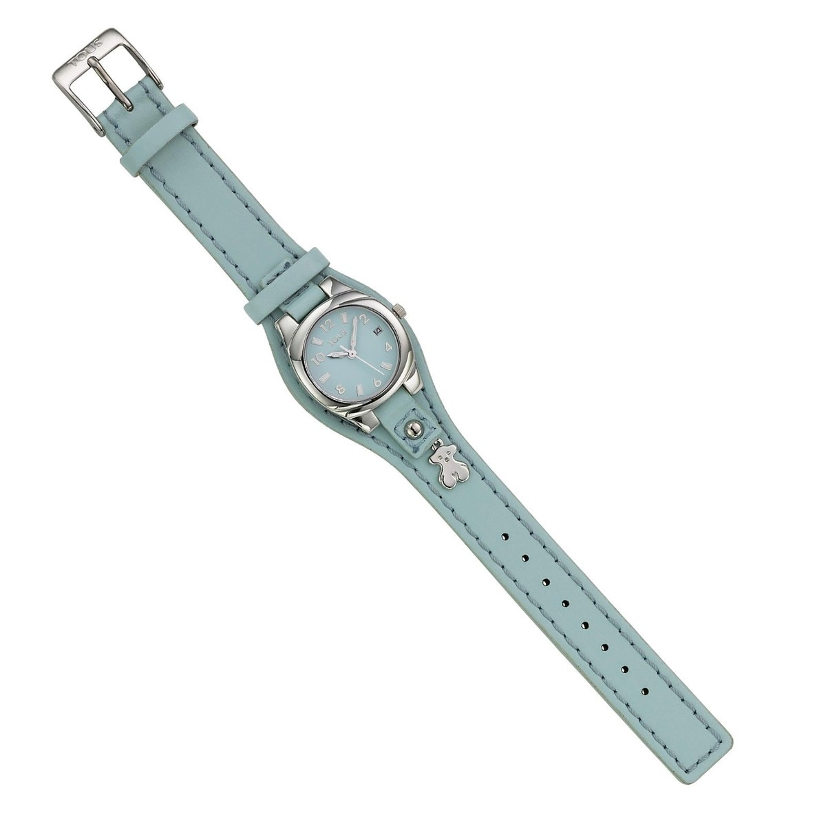 Steel Lollipop Watch with blue Leather strap