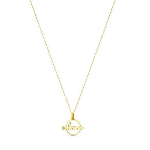 Gold San Valentin Necklace with Diamond